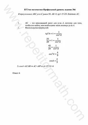 Задание №6 ЕГЭ (профильный уровень)